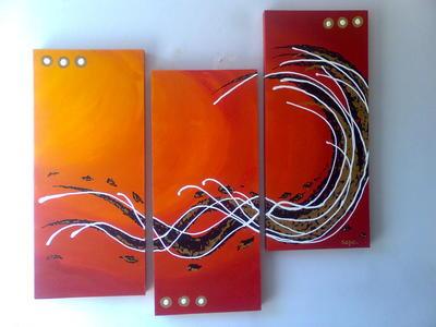 Cuadros modernos tripticos abstracto super textura color for Cuadros verticales modernos