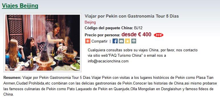 Viajar por Pekin con Gastronomia Tour 5 Dias