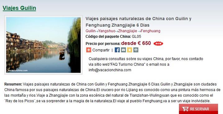 Viajes paisajes naturalezas de China con Guilin y Fenghuang Zhangjiajie 6 Dias